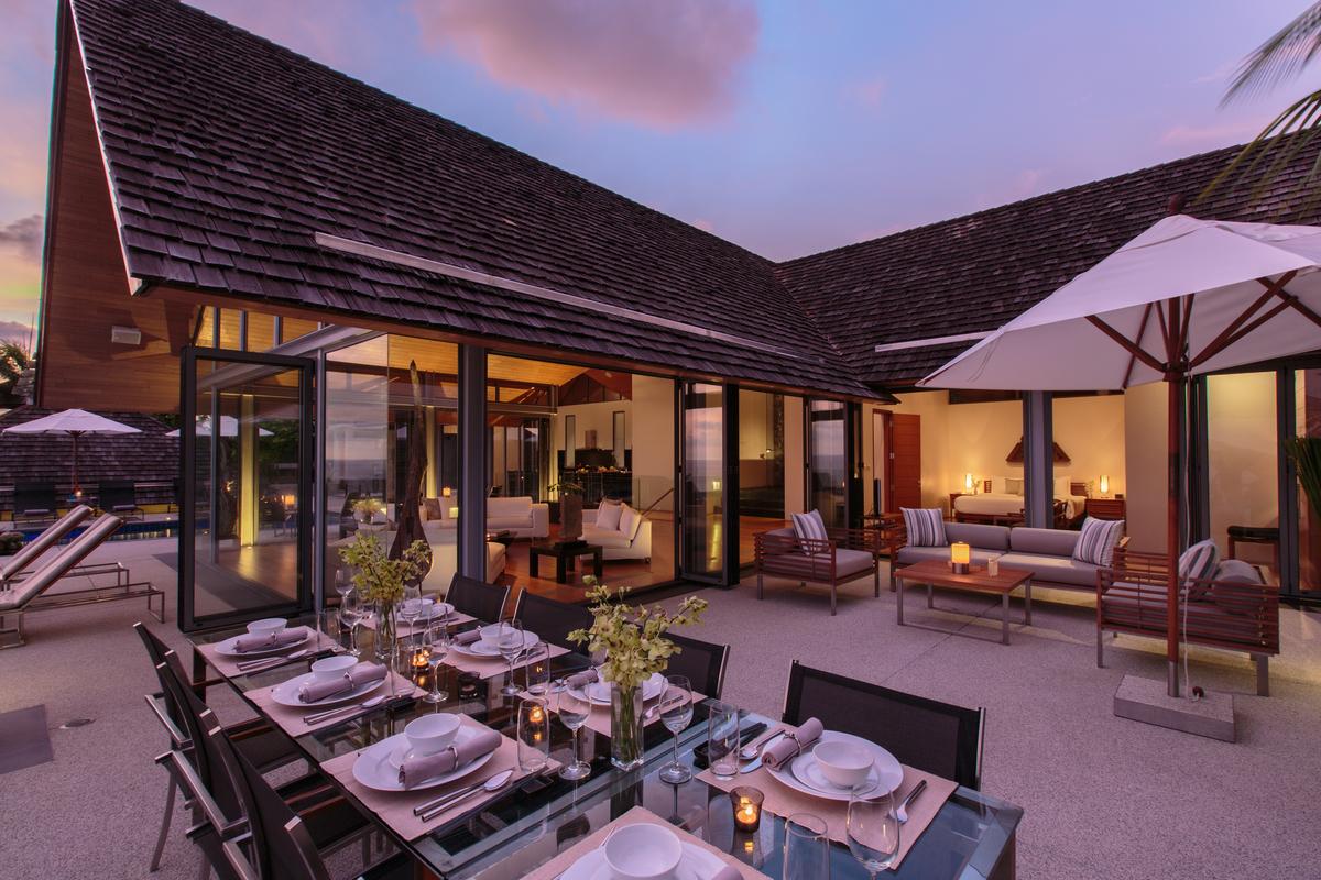 Outdoor dining at villa 15, Samsara private estate, Kamala, Phuket, Thailand