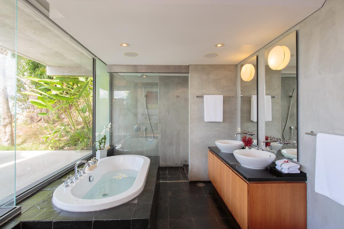 Master bathroom at villa 15, Samsara private estate, Kamala, Phuket, Thailand