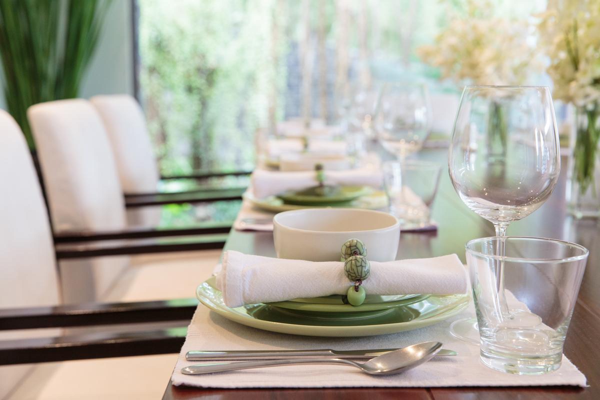 Dining area at villa 8, Samsara private estate, Kamala, Phuket, Thailand